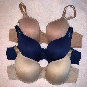 "Bundle of 3 Chantelle ""Invisible"" T-shirt Bras"